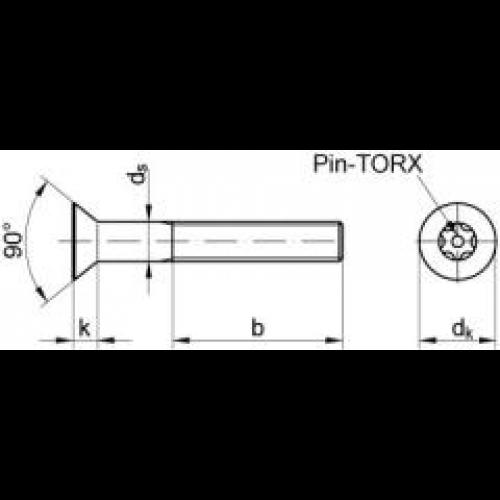 1 Stück Hülsenmutter mit Senkkopf M4X12 mit TORX+PIN Edelstahl A2