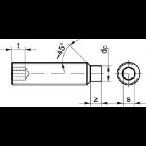 25 Stück  Gewindestifte Innensechskant Zapfen DIN 915 M3x6 EDELSTAHL